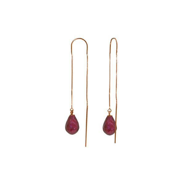 Genuine 6.6 ctw Ruby Earrings 14KT Rose Gold - REF-20X8M