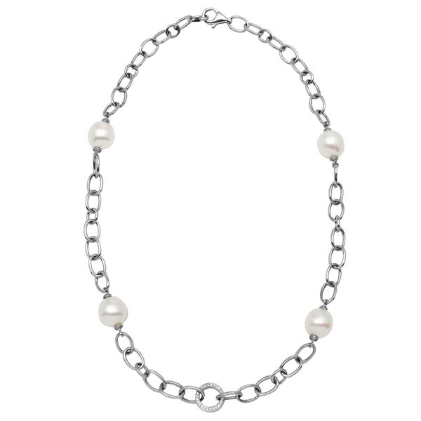 Natural 37.15 CTW Pearl & Diamond Necklace 14K White Gold - REF-188W3H