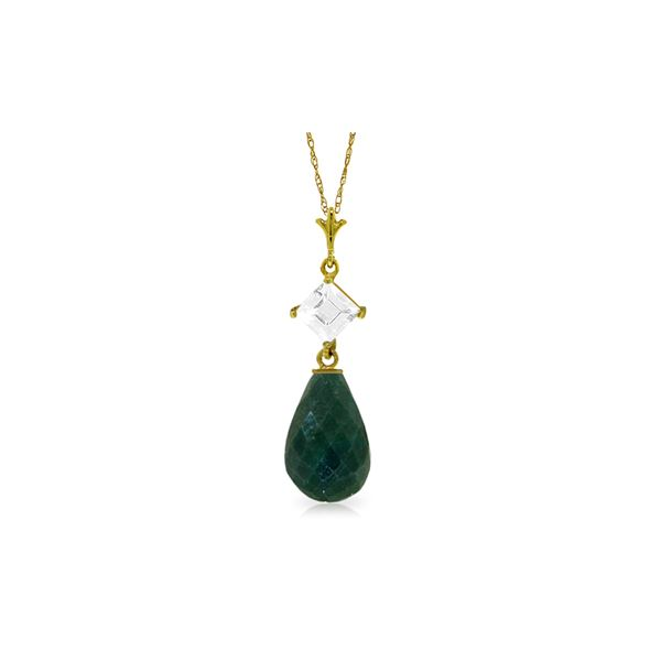 Genuine 9.3 ctw Green Sapphire Corundum & White Topaz Necklace 14KT Yellow Gold - REF-26A6K