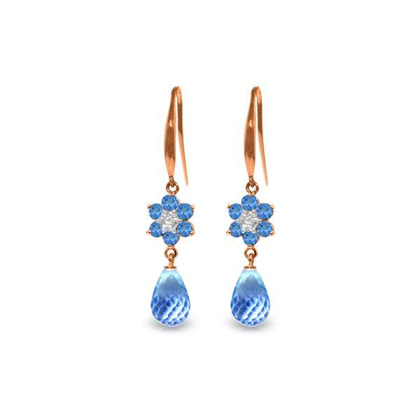 Genuine 5.51 ctw Blue Topaz & Diamond Earrings 14KT Rose Gold - REF-47V4W