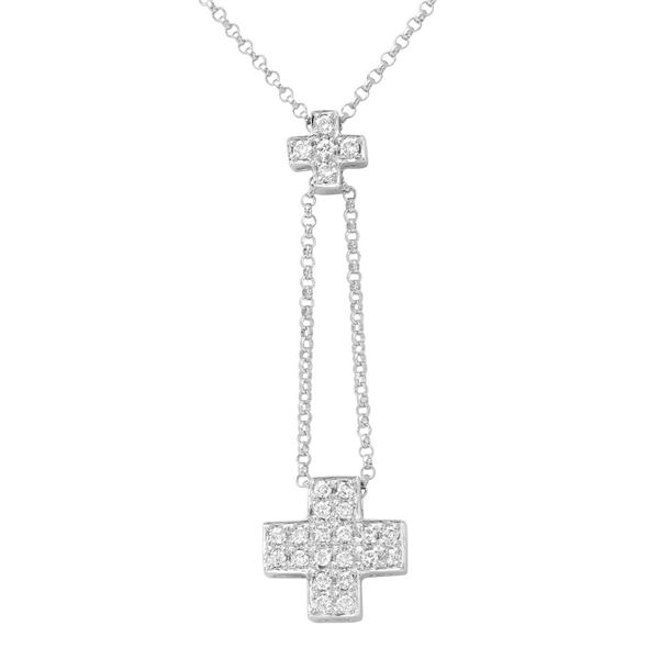 Natural 0.26 CTW Diamond Necklace 14K White Gold - REF-32N4Y