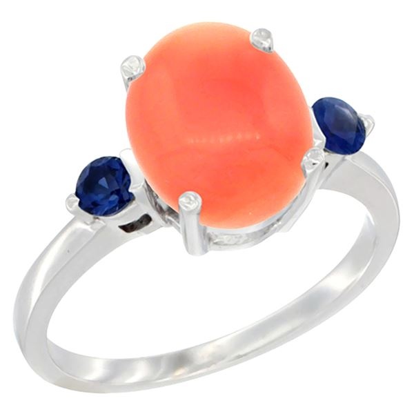 0.24 CTW Blue Sapphire & Natural Coral Ring 14K White Gold - REF-31V6R