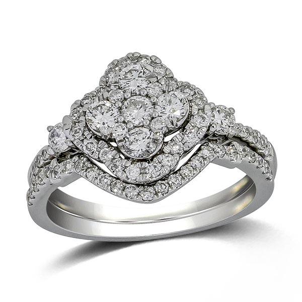 Natural 0.93 CTW Diamond & Wedding Ring Set 14K White Gold - REF-114N3Y