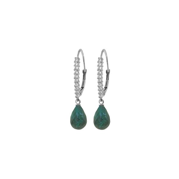 Genuine 6.9 ctw Green Sapphire Corundum & Diamond Earrings 14KT White Gold - REF-54W5Y