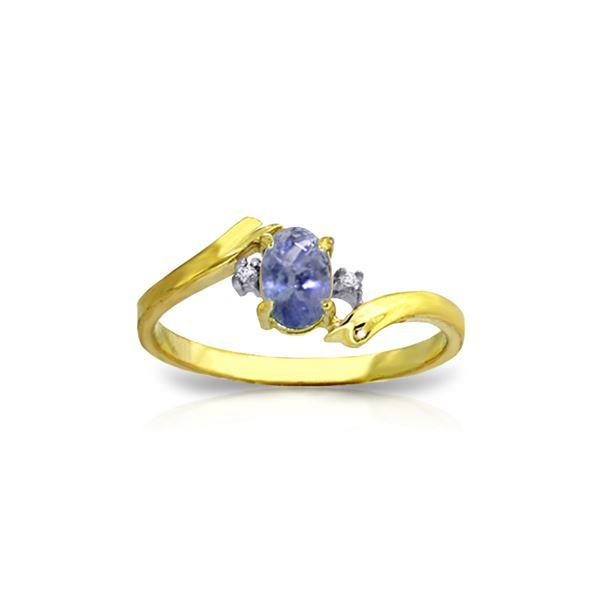 Genuine 0.46 ctw Tanzanite & Diamond Ring 14KT Yellow Gold - REF-31R9P