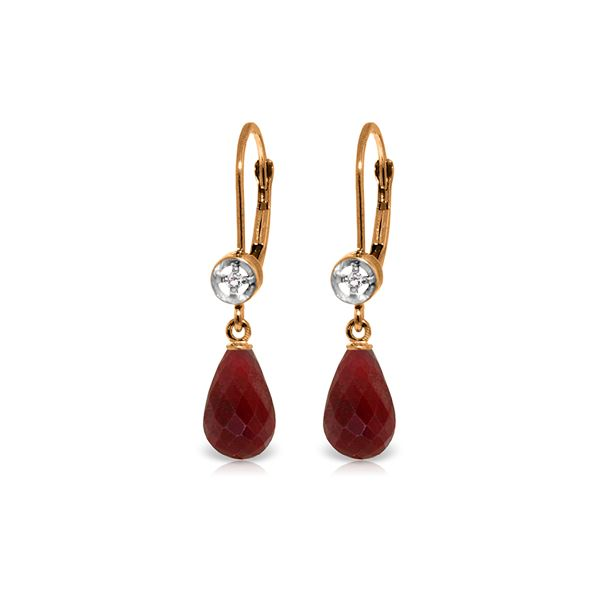 Genuine 6.63 ctw Ruby & Diamond Earrings 14KT Rose Gold - REF-29V7W