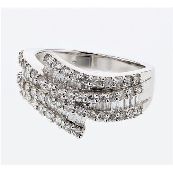 Natural 1.33 CTW Diamond & Baguette Ring 18K White Gold - REF-180F9M