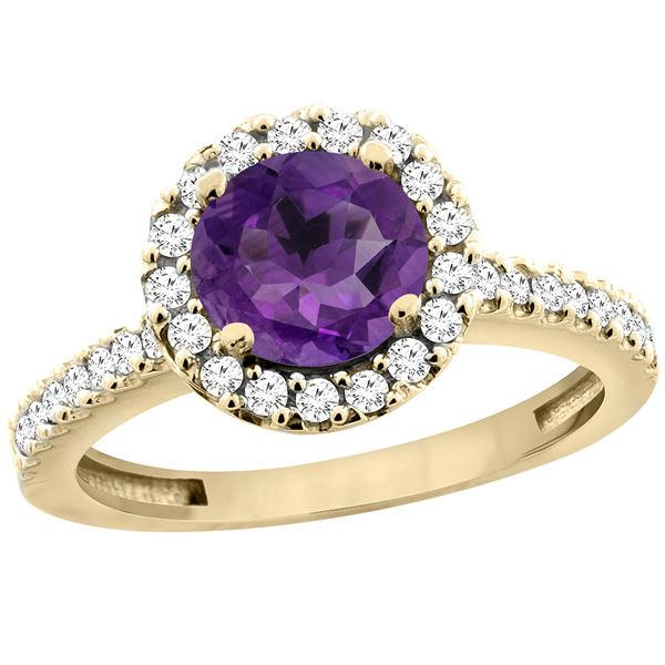 1.13 CTW Amethyst & Diamond Ring 10K Yellow Gold - REF-54X3M
