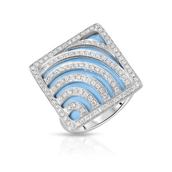 Natural 11.70 CTW Turquoise & Diamond Ring W=20MM 14K Gold - REF-106W2H