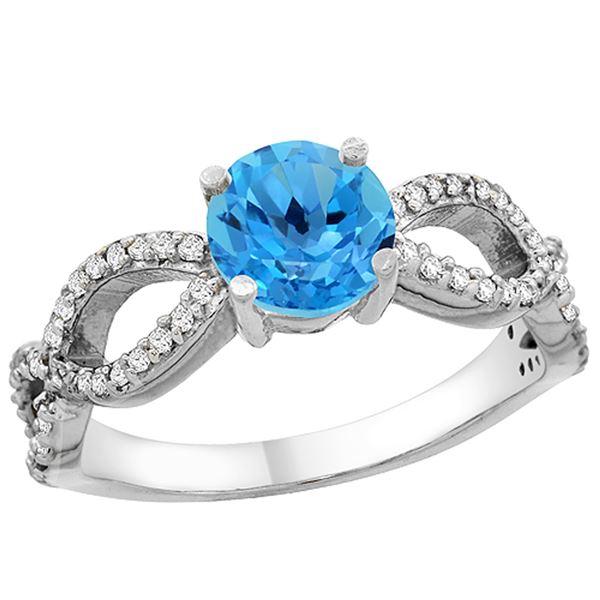 1.25 CTW Swiss Blue Topaz & Diamond Ring 10K White Gold - REF-49A8X