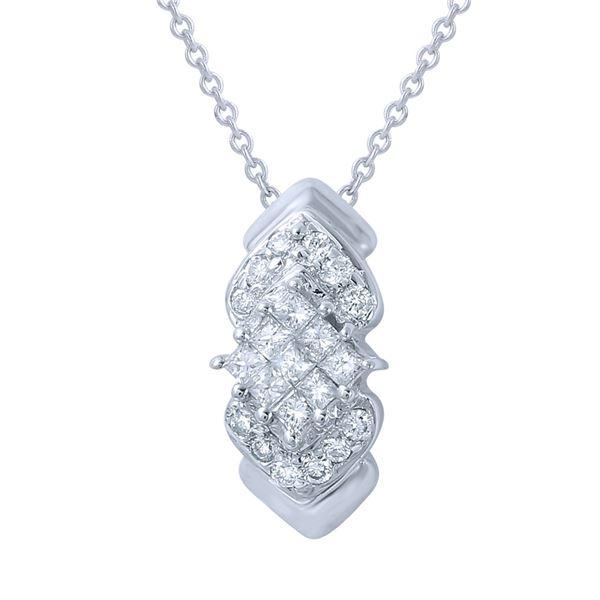 Natural 0.58 CTW Diamond & Princess Diamond Necklace 14K White Gold - REF-44F3M