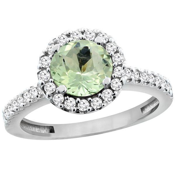 1.13 CTW Amethyst & Diamond Ring 14K White Gold - REF-60H5M