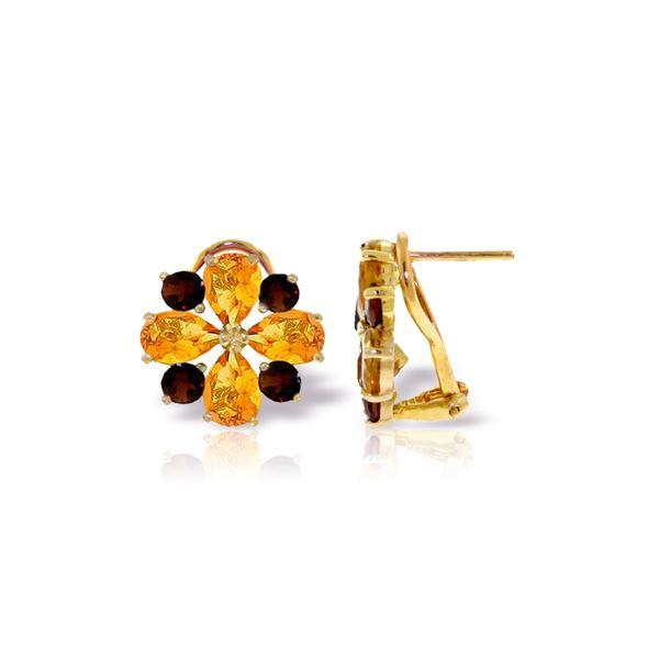 Genuine 4.85 ctw Citrine & Garnet Earrings 14KT Yellow Gold - REF-58K4V