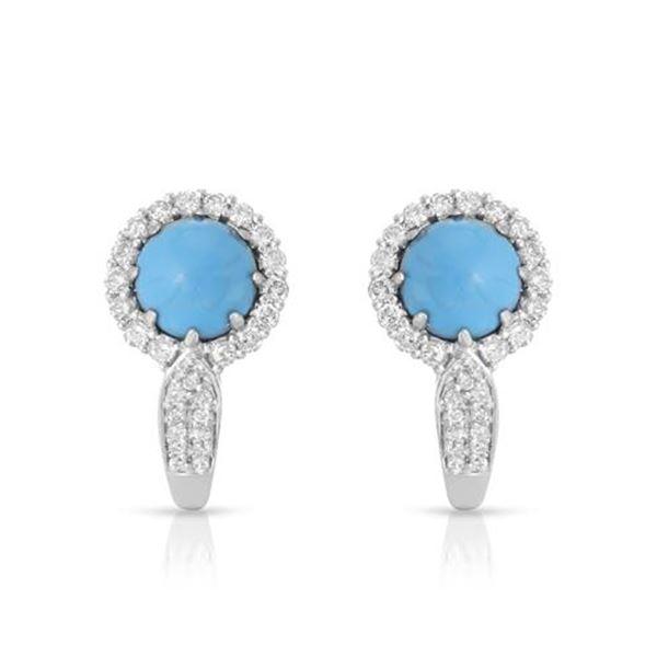 Natural 2.54 CTW Turquoise & Diamond Earrings 14K White Gold - REF-71K3R
