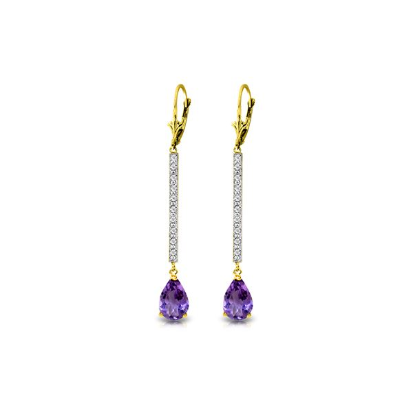 Genuine 3.6 ctw Amethyst & Diamond Earrings 14KT Yellow Gold - REF-60H4X