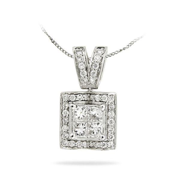 Natural 0.75 CTW Princess Diamond Necklace 14K White Gold - REF-116K3R