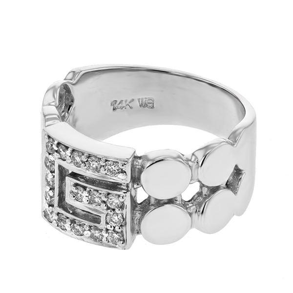 Natural 0.30 CTW Diamond Ring 14K White Gold - REF-64N8Y