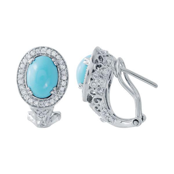 Natural 2.53 CTW Turquoise & Diamond Earrings 14K White Gold - REF-72T9X