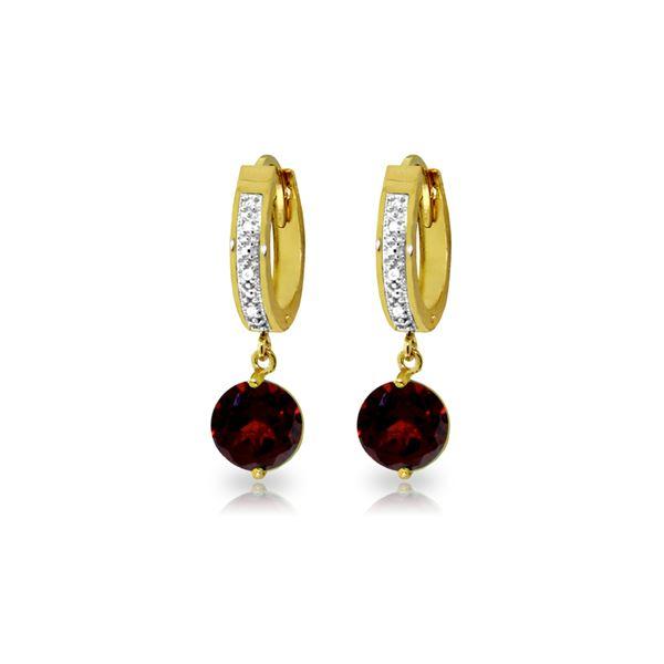 Genuine 2.53 ctw Garnet & Diamond Earrings 14KT Yellow Gold - REF-54K6V