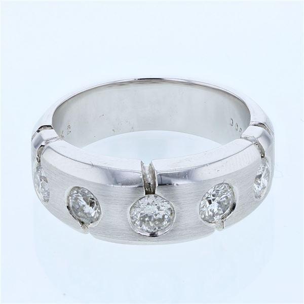 Natural 0.89 CTW Diamond Ring 14K White Gold - REF-162W2H