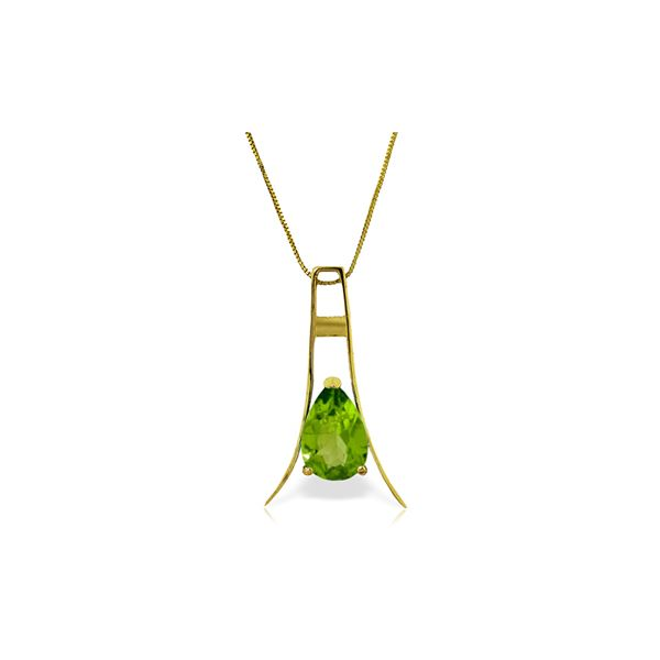 Genuine 1.50 ctw Peridot Necklace 14KT Yellow Gold - REF-35R4P