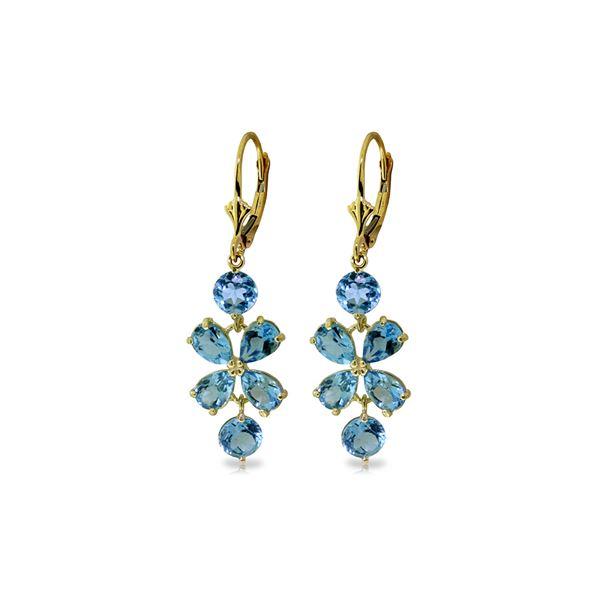 Genuine 5.32 ctw Blue Topaz Earrings 14KT Yellow Gold - REF-50X3M