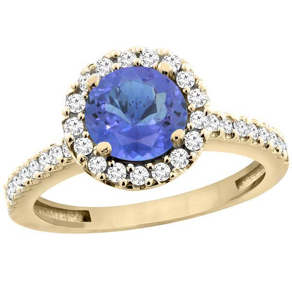 1.22 CTW Tanzanite & Diamond Ring 10K Yellow Gold - REF-61F3N