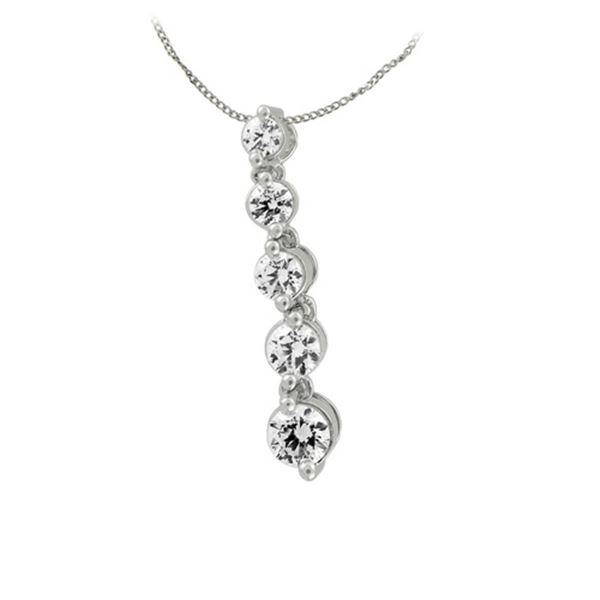 Natural 0.75 CTW Diamond Necklace 14K White Gold - REF-127T8X