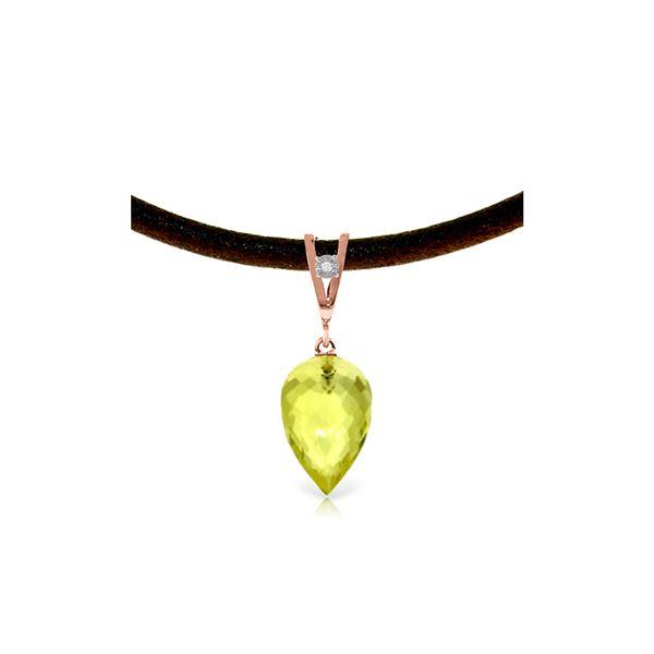 Genuine 9.01 ctw Lemon Quartz & Diamond Necklace 14KT Rose Gold - REF-35Z4N