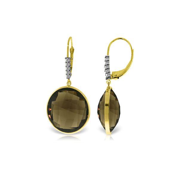 Genuine 34.15 ctw Smoky Quartz & Diamond Earrings 14KT Yellow Gold - REF-63P4H