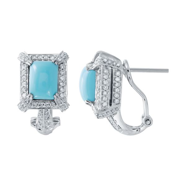 Natural 4.18 CTW Turquoise & Diamond Earrings 14K White Gold - REF-110F7M