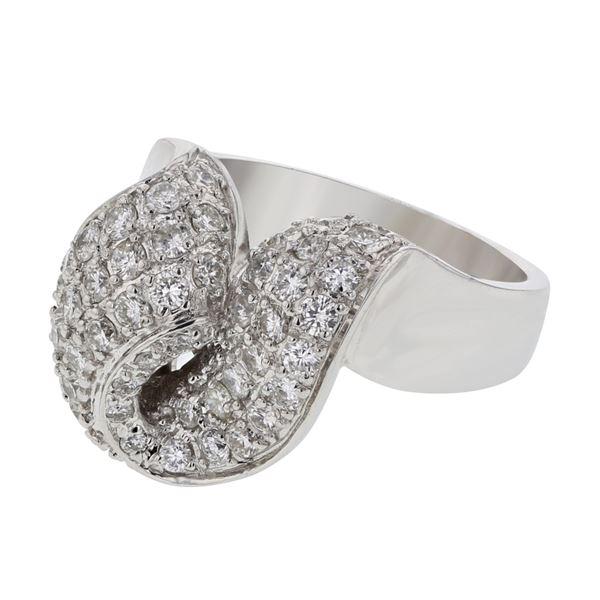 Natural 1.34 CTW Diamond Ring 18K White Gold - REF-252W9H