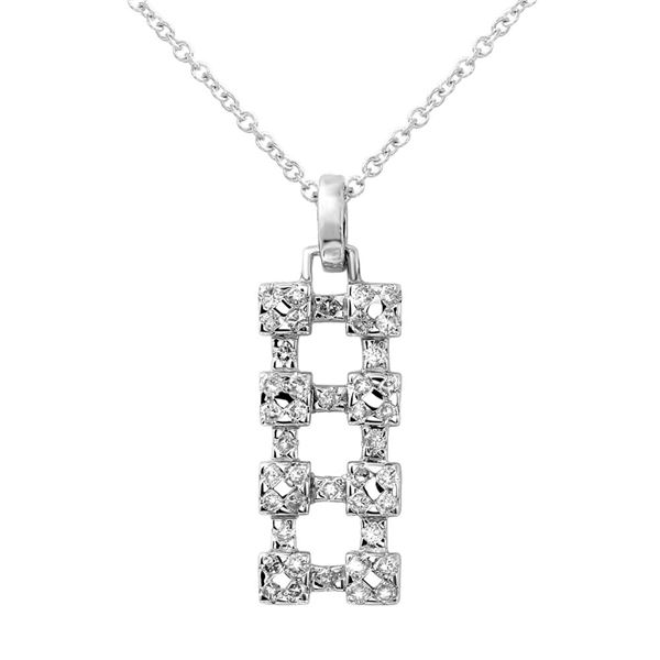 Natural 0.48 CTW Diamond Necklace 18K White Gold - REF-49N5Y