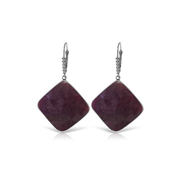 Genuine 40.65 ctw Ruby & Diamond Earrings 14KT White Gold - REF-131F8Z