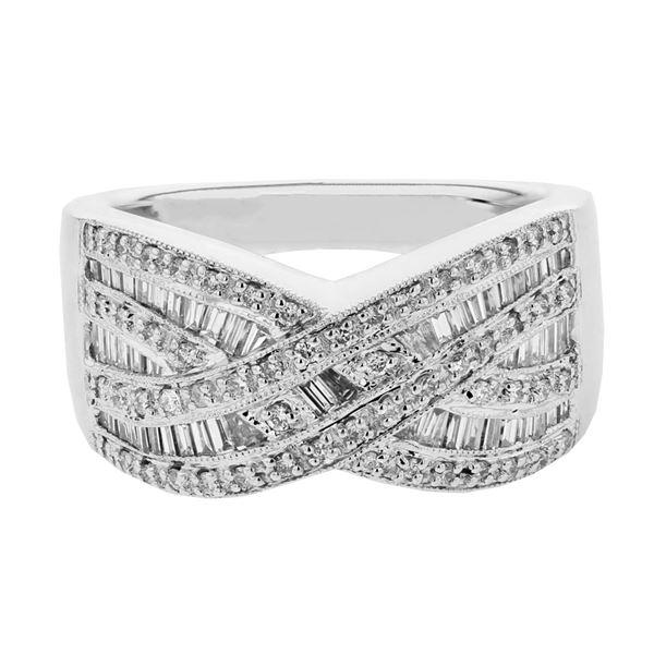 Natural 0.79 CTW Baguette & Diamond Ring 18K White Gold - REF-177K3R