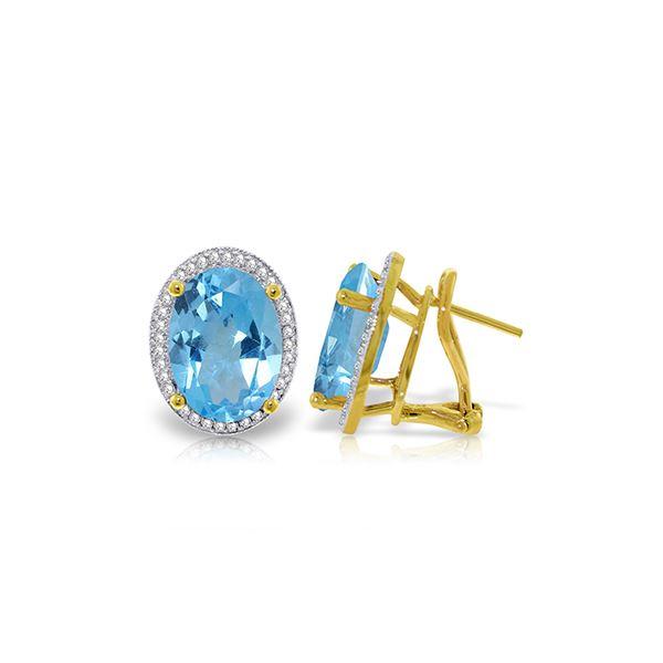 Genuine 15.16 ctw Blue Topaz & Diamond Earrings 14KT Yellow Gold - REF-132V6W