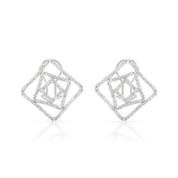 Natural 0.94 CTW Diamond Earrings 14K White Gold - REF-96K3R