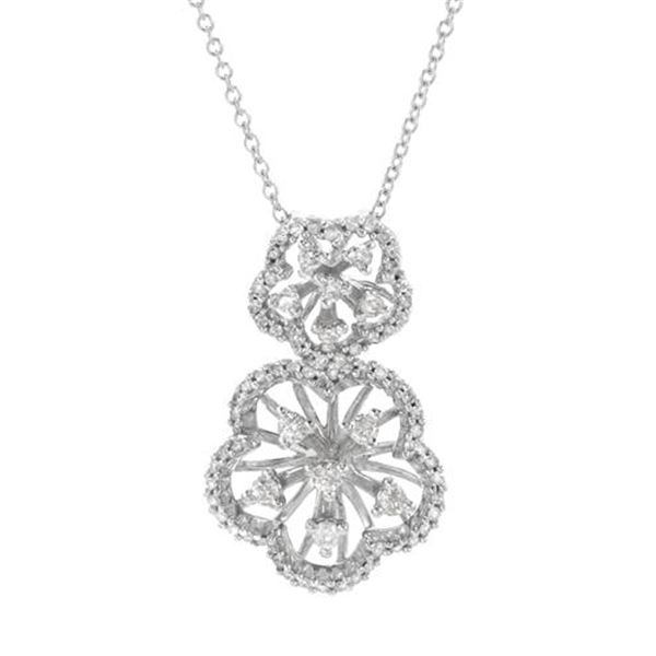 Natural 0.48 CTW Diamond Necklace 14K White Gold - REF-56W7H