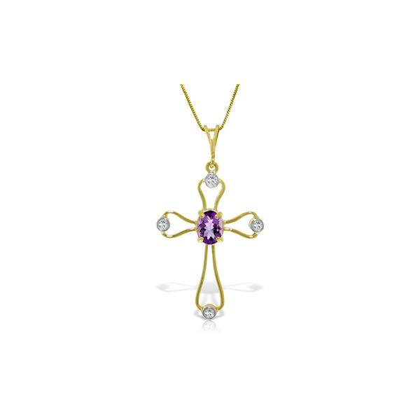 Genuine 0.57 ctw Amethyst & Diamond Necklace 14KT Yellow Gold - REF-40Y8F