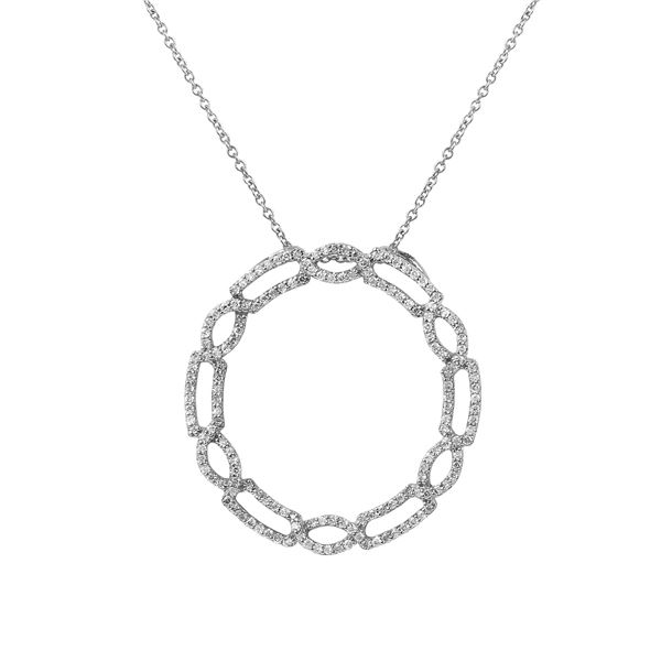 Natural 0.57 CTW Diamond Necklace 14K White Gold - REF-95N4Y