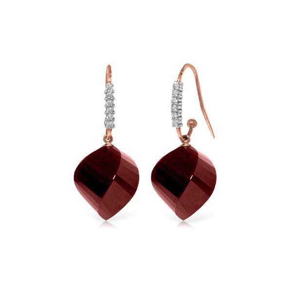 Genuine 30.68 ctw Ruby & Diamond Earrings 14KT Rose Gold - REF-67R3P