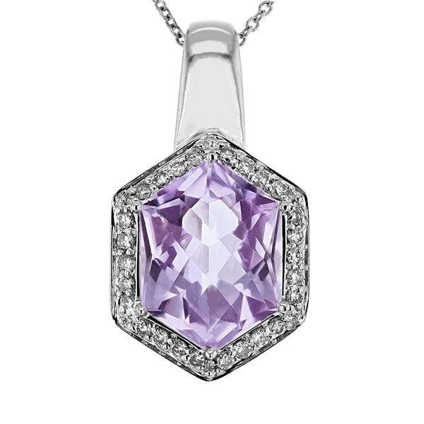Natural 4.98 CTW Amethyst & Diamond Necklace 14K Gold - REF-66F6M