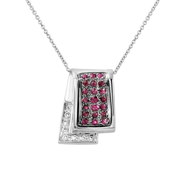 Natural 0.64 CTW Pink Sapphire & Diamond Necklace 14K White Gold - REF-70N2Y