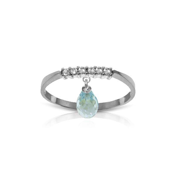 Genuine 1.45 ctw Blue Topaz & Diamond Ring 14KT White Gold - REF-34H3X