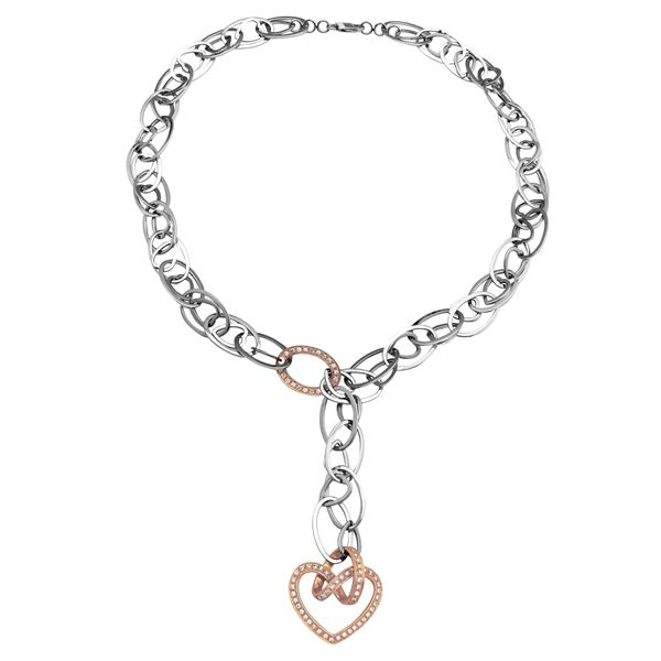Natural 0.57 CTW Diamond Necklace 18K Two Tone Rose Gold - REF-409W5H