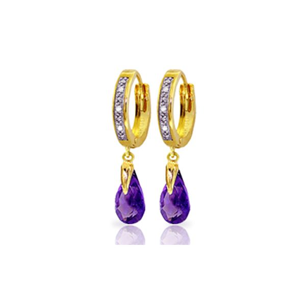 Genuine 2.53 ctw Amethyst & Diamond Earrings 14KT Yellow Gold - REF-58H2X