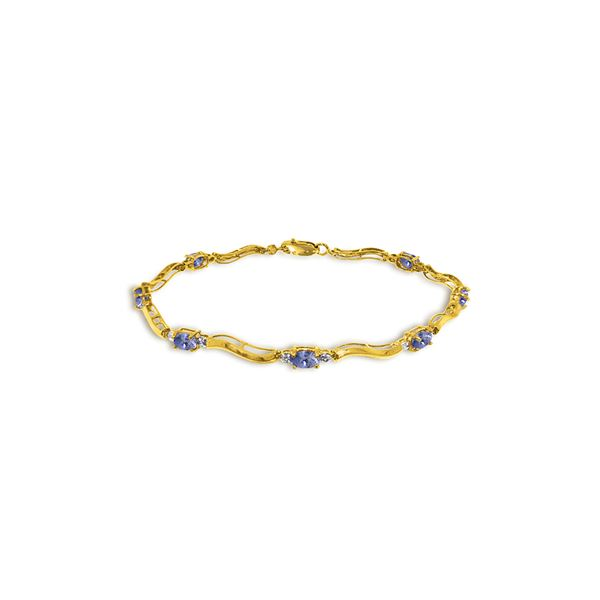 Genuine 2.01 ctw Tanzanite & Diamond Bracelet 14KT Yellow Gold - REF-89R5P