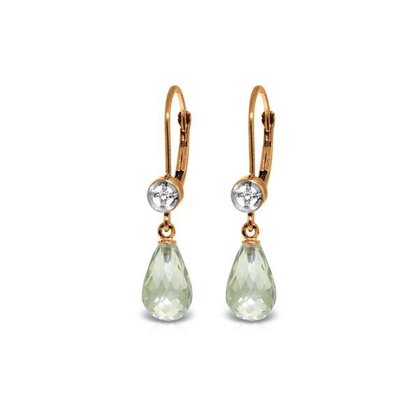 Genuine 4.53 ctw Green Amethyst & Diamond Earrings 14KT Rose Gold - REF-29A3K