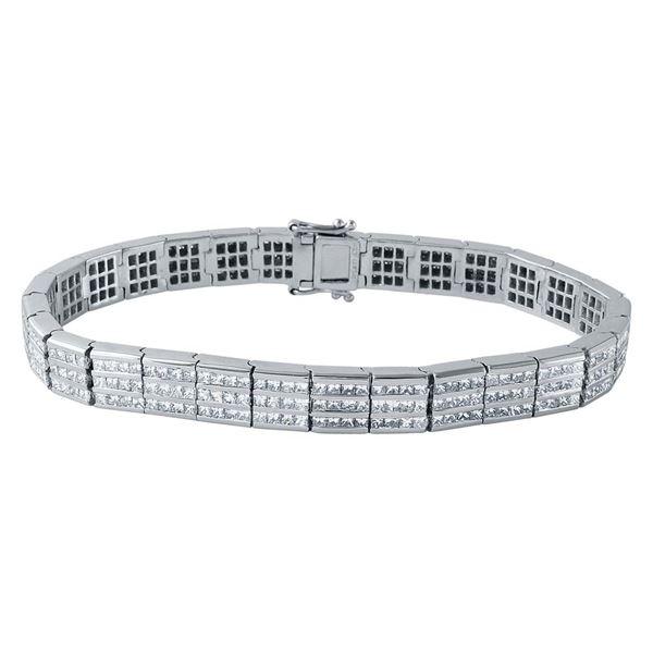 Natural 7.58 CTW Princess Diamond & Bracelet 14K White Gold - REF-1085W4H