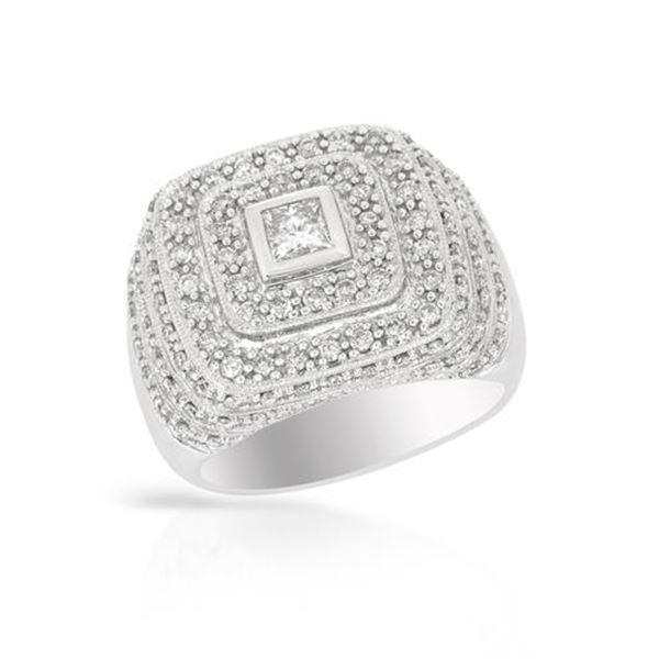 Natural 1.15 CTW Diamond & Princess Diamond Ring 14K White Gold - REF-167K4R